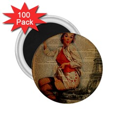 Vintage Newspaper Print Pin Up Girl Paris Eiffel Tower Funny Vintage Retro Nurse  2.25  Button Magnet (100 pack)