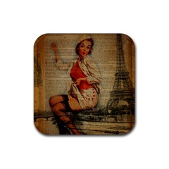 Vintage Newspaper Print Pin Up Girl Paris Eiffel Tower Funny Vintage Retro Nurse  Drink Coaster (Square)
