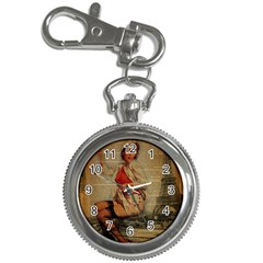Vintage Newspaper Print Pin Up Girl Paris Eiffel Tower Funny Vintage Retro Nurse  Key Chain & Watch