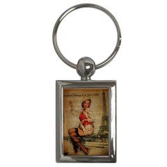 Vintage Newspaper Print Pin Up Girl Paris Eiffel Tower Funny Vintage Retro Nurse  Key Chain (rectangle)