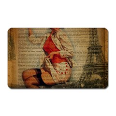 Vintage Newspaper Print Pin Up Girl Paris Eiffel Tower Funny Vintage Retro Nurse  Magnet (rectangular)