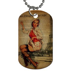 Vintage Newspaper Print Pin Up Girl Paris Eiffel Tower Funny Vintage Retro Nurse  Dog Tag (two Sided)