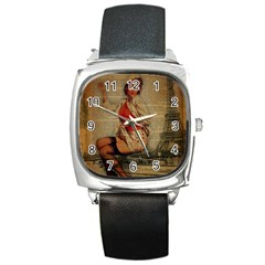 Vintage Newspaper Print Pin Up Girl Paris Eiffel Tower Funny Vintage Retro Nurse  Square Leather Watch