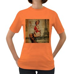 Vintage Newspaper Print Pin Up Girl Paris Eiffel Tower Funny Vintage Retro Nurse  Womens' T-shirt (Colored)