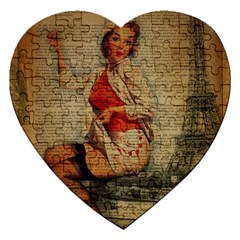 Vintage Newspaper Print Pin Up Girl Paris Eiffel Tower Funny Vintage Retro Nurse  Jigsaw Puzzle (Heart)