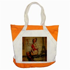 Vintage Newspaper Print Pin Up Girl Paris Eiffel Tower Funny Vintage Retro Nurse  Accent Tote Bag