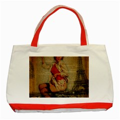 Vintage Newspaper Print Pin Up Girl Paris Eiffel Tower Funny Vintage Retro Nurse  Classic Tote Bag (Red)