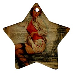 Vintage Newspaper Print Pin Up Girl Paris Eiffel Tower Funny Vintage Retro Nurse  Star Ornament (Two Sides)
