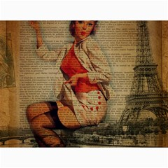 Vintage Newspaper Print Pin Up Girl Paris Eiffel Tower Funny Vintage Retro Nurse  Canvas 12  X 16  (unframed)