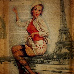 Vintage Newspaper Print Pin Up Girl Paris Eiffel Tower Funny Vintage Retro Nurse  Canvas 16  X 16  (unframed)