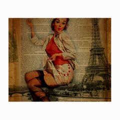 Vintage Newspaper Print Pin Up Girl Paris Eiffel Tower Funny Vintage Retro Nurse  Glasses Cloth (Small, Two Sided)