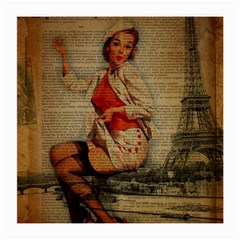 Vintage Newspaper Print Pin Up Girl Paris Eiffel Tower Funny Vintage Retro Nurse  Glasses Cloth (Medium, Two Sided)