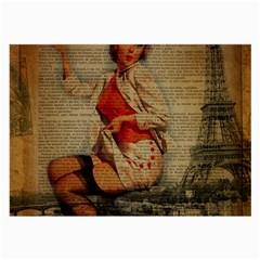 Vintage Newspaper Print Pin Up Girl Paris Eiffel Tower Funny Vintage Retro Nurse  Glasses Cloth (Large)