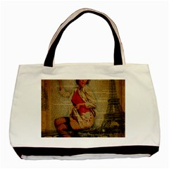 Vintage Newspaper Print Pin Up Girl Paris Eiffel Tower Funny Vintage Retro Nurse  Twin-sided Black Tote Bag
