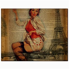 Vintage Newspaper Print Pin Up Girl Paris Eiffel Tower Funny Vintage Retro Nurse  Canvas 11  x 14  (Unframed)