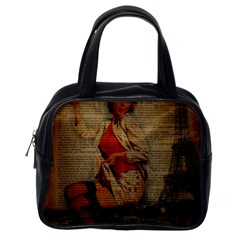 Vintage Newspaper Print Pin Up Girl Paris Eiffel Tower Funny Vintage Retro Nurse  Classic Handbag (One Side)