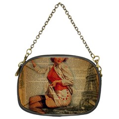 Vintage Newspaper Print Pin Up Girl Paris Eiffel Tower Funny Vintage Retro Nurse  Chain Purse (Two Sided)