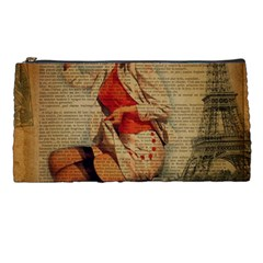Vintage Newspaper Print Pin Up Girl Paris Eiffel Tower Funny Vintage Retro Nurse  Pencil Case