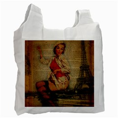 Vintage Newspaper Print Pin Up Girl Paris Eiffel Tower Funny Vintage Retro Nurse  Recycle Bag (one Side)