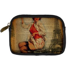 Vintage Newspaper Print Pin Up Girl Paris Eiffel Tower Funny Vintage Retro Nurse  Digital Camera Leather Case