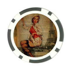 Vintage Newspaper Print Pin Up Girl Paris Eiffel Tower Funny Vintage Retro Nurse  Poker Chip 10 Pack