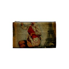 Vintage Newspaper Print Pin Up Girl Paris Eiffel Tower Funny Vintage Retro Nurse  Cosmetic Bag (small)