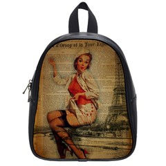 Vintage Newspaper Print Pin Up Girl Paris Eiffel Tower Funny Vintage Retro Nurse  School Bag (Small)