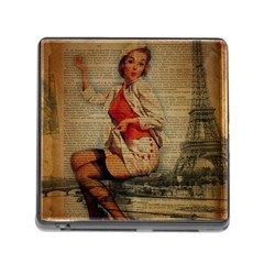 Vintage Newspaper Print Pin Up Girl Paris Eiffel Tower Funny Vintage Retro Nurse  Memory Card Reader With Storage (square)