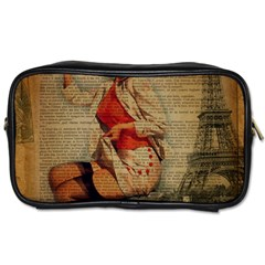 Vintage Newspaper Print Pin Up Girl Paris Eiffel Tower Funny Vintage Retro Nurse  Travel Toiletry Bag (one Side)