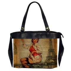 Vintage Newspaper Print Pin Up Girl Paris Eiffel Tower Funny Vintage Retro Nurse  Oversize Office Handbag (Two Sides)