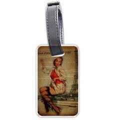 Vintage Newspaper Print Pin Up Girl Paris Eiffel Tower Funny Vintage Retro Nurse  Luggage Tag (One Side)