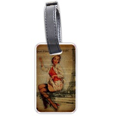 Vintage Newspaper Print Pin Up Girl Paris Eiffel Tower Funny Vintage Retro Nurse  Luggage Tag (Two Sides)