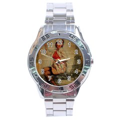 Vintage Newspaper Print Pin Up Girl Paris Eiffel Tower Funny Vintage Retro Nurse  Stainless Steel Watch (men s)