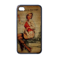 Vintage Newspaper Print Pin Up Girl Paris Eiffel Tower Funny Vintage Retro Nurse  Apple iPhone 4 Case (Black)
