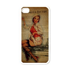 Vintage Newspaper Print Pin Up Girl Paris Eiffel Tower Funny Vintage Retro Nurse  Apple iPhone 4 Case (White)