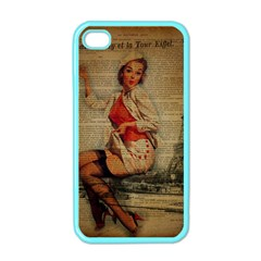Vintage Newspaper Print Pin Up Girl Paris Eiffel Tower Funny Vintage Retro Nurse  Apple Iphone 4 Case (color)