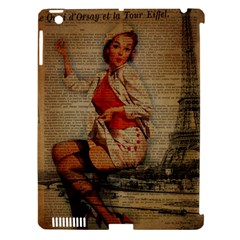 Vintage Newspaper Print Pin Up Girl Paris Eiffel Tower Funny Vintage Retro Nurse  Apple iPad 3/4 Hardshell Case (Compatible with Smart Cover)