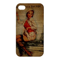 Vintage Newspaper Print Pin Up Girl Paris Eiffel Tower Funny Vintage Retro Nurse  Apple iPhone 4/4S Premium Hardshell Case