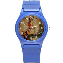 Vintage Newspaper Print Pin Up Girl Paris Eiffel Tower Funny Vintage Retro Nurse  Plastic Sport Watch (Small)