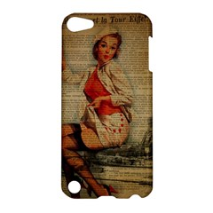 Vintage Newspaper Print Pin Up Girl Paris Eiffel Tower Funny Vintage Retro Nurse  Apple iPod Touch 5 Hardshell Case