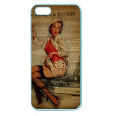 Vintage Newspaper Print Pin Up Girl Paris Eiffel Tower Funny Vintage Retro Nurse  Apple Seamless iPhone 5 Case (Color)