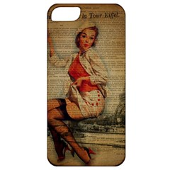 Vintage Newspaper Print Pin Up Girl Paris Eiffel Tower Funny Vintage Retro Nurse  Apple Iphone 5 Classic Hardshell Case