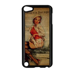 Vintage Newspaper Print Pin Up Girl Paris Eiffel Tower Funny Vintage Retro Nurse  Apple iPod Touch 5 Case (Black)