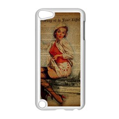 Vintage Newspaper Print Pin Up Girl Paris Eiffel Tower Funny Vintage Retro Nurse  Apple iPod Touch 5 Case (White)