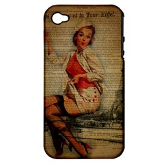 Vintage Newspaper Print Pin Up Girl Paris Eiffel Tower Funny Vintage Retro Nurse  Apple iPhone 4/4S Hardshell Case (PC+Silicone)