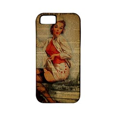 Vintage Newspaper Print Pin Up Girl Paris Eiffel Tower Funny Vintage Retro Nurse  Apple iPhone 5 Classic Hardshell Case (PC+Silicone)