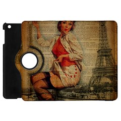 Vintage Newspaper Print Pin Up Girl Paris Eiffel Tower Funny Vintage Retro Nurse  Apple iPad Mini Flip 360 Case
