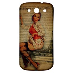 Vintage Newspaper Print Pin Up Girl Paris Eiffel Tower Funny Vintage Retro Nurse  Samsung Galaxy S3 S Iii Classic Hardshell Back Case