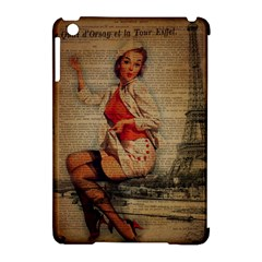 Vintage Newspaper Print Pin Up Girl Paris Eiffel Tower Funny Vintage Retro Nurse  Apple iPad Mini Hardshell Case (Compatible with Smart Cover)