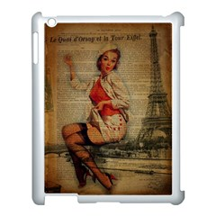Vintage Newspaper Print Pin Up Girl Paris Eiffel Tower Funny Vintage Retro Nurse  Apple iPad 3/4 Case (White)